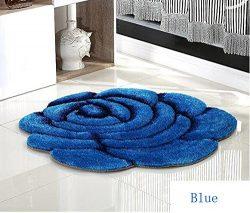 Rose Rug Living Room Carpet 3D Flower Doormat Bedroom Decorate (70cmX70cm, Blue)