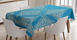 Ambesonne Traditional House Decor Tablecloth, Eastern Old Fashion Arabesque Kaleidoscope Paisley ...