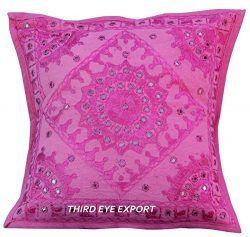 Third Eye Export 16″ Mirror Embroidered Ethnic Home Decorative Indian Sofa Cushion Pillow  ...