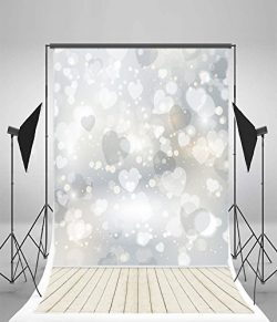 Leyiyi Photography Backdrops 5X7ft Vinyl HD Thin Sparkling Hearts And Wood Floor Kids Photo Back ...