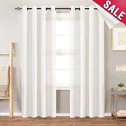 White Faux Silk Curtains for Bedroom 63 inches Long Grommet Top Dupioni Light Reducing Window Cu ...