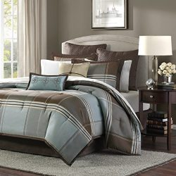 Madison Park Lincoln Square King Size Bed Comforter Set Bed In A Bag – Brown, Teal, Plaid  ...