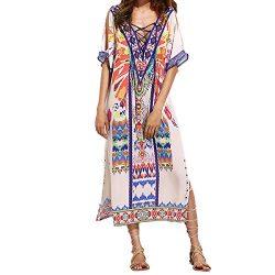 Susanny Women's Summer Milk Silk Floral Print Beach Loose Long Boho Bohemian Maxi Dress White