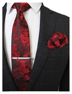JEMYGINS Silk Red Floral Necktie and Pocket Square, Hankerchief and Tie Bar Clip Sets for Men (1)
