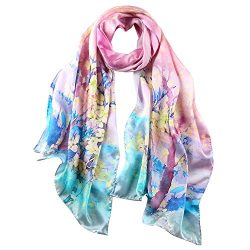 STORY OF SHANGHAI Women's 100% Silk Scarf Luxury Satin Graphic Painted Shawl Wraps DY09,Pi ...