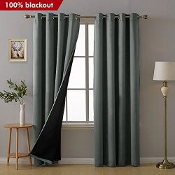 Deconovo Total Blackout Curtains Grommet Thermal Insulated Room Darkening Faux Silk Satin Liner  ...