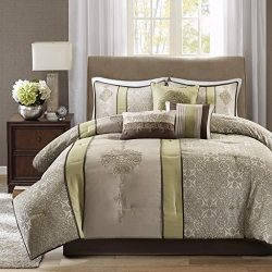 Madison Park Donovan King Size Bed Comforter Set Bed in A Bag – Taupe, Sage Green, Jacquar ...