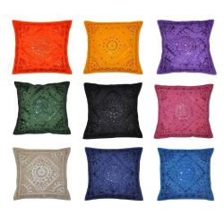 Indian Decor Handmade Cotton Cushion Cover Pillow Covers, 16 X 16 Inches, 10 Pcs Lot