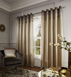 PLEATED FAUX SILK BEIGE TAUPE MOCHA FULLY LINED 66″ X 72″ – 168CM X 183CM RING ...