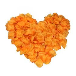 EMAXELER [Broken Girls Flowers]1000pcs Orange Silk Rose Flower Petals for Wedding Table Confetti ...