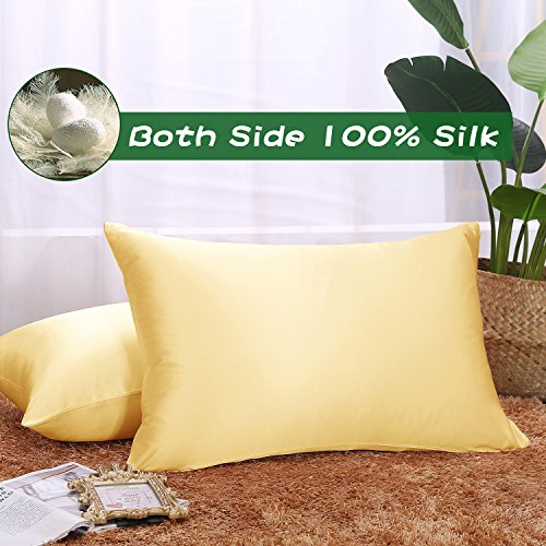 Ethereal Lomoer 100% Natural Pure Silk Pillowcase for Hair and Skin, Both Side 19mm, Hypoallerge ...