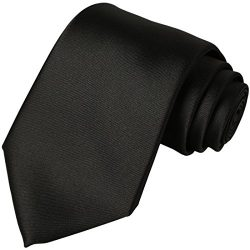 KissTies Black Tie Solid Satin Ties Mens Necktie