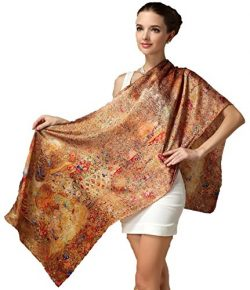 Grace Scarves 100% Silk Scarf, Oblong, Sateen, Wildflower Harvest, Burnt Orange