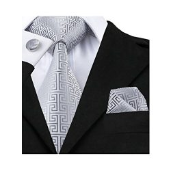 Hi-Tie Retro Silver Geometric Pattern Tie Set