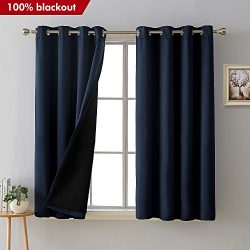 Deconovo Total Blackout Curtains Grommet Thermal Insulated Room Darkening Faux Silk Satin Navy B ...