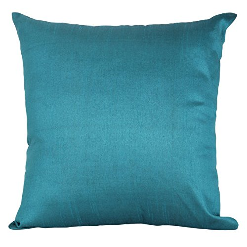 The White Petals Set of 2 Teal Art Silk Pillow Covers, Plain Silk Cushion Cover, Solid Color Tea ...