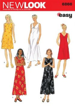 New Look Sewing Pattern 6866 Misses Dresses, Size A (S-M-L-XL)