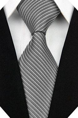 Wehug Men's Classic Solid Tie Silk Woven Necktie Jacquard Neck Gray Ties For Men LD0055