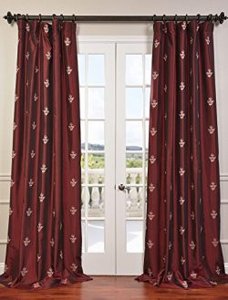 Half Price Drapes EFSCH-14086A-120 Embroidered Faux Silk Taffeta Curtain, Trophy Syrah