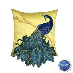 Lichao Elegant Silk Embroidery Applique with Sequin 3D Peacock Square 18 x 18 Inch Pillow Cover  ...