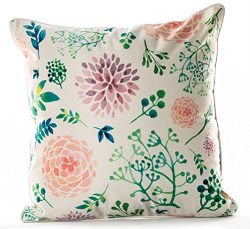 YJBear Faux Silk Pink Flower Print Square Cushion Pillow with Invisible Zipper Standard Size Dec ...