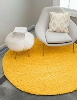 Unique Loom Solo Solid Shag Collection Modern Plush Tuscan Sun Yellow Round (8′ x 8′)