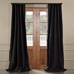 HPD HALF PRICE DRAPES Half Price Drapes PTCH-JTSP41-96 Faux Silk Taffeta Curtain, Jet Black