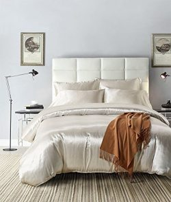 White Bedding Silk Like Satin Duvet Cover Set Solid Color Quilt Cover Silver White Bedding Sets  ...