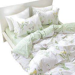 FADFAY Shabby Green Floral Duvet Cover Set Reversible Printing with Brushed Cotton Bedding Set 4 ...