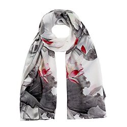 STORY OF SHANGHAI Womens 100% Mulberry Silk Head Scarf For Hair Ladies Floral Satin Scarf,Multic ...