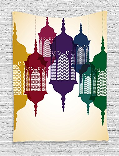 Lantern Tapestry by Ambesonne, Antique Style Colorful Arabian Lantern Hang on Sky Traditional De ...