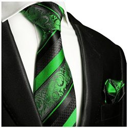 Green and Black Silk Tie and Pocket Square Paul Malone Red Line