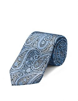 Origin Ties Mens Fashion Blue/Black Paisley 100% Silk Handmade 3″ Skinny Tie