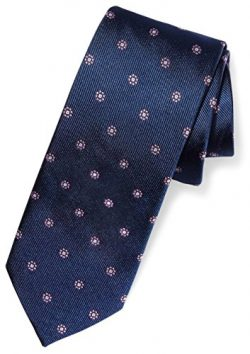 Buttoned Down Men's Classic Silk 3″ Necktie, navy/pink flowers, X-Long