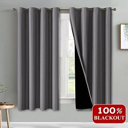 PONY DANCE Total Blackout Curtains – 100% Light Block Window Panels Draperies Panels 2 Lay ...