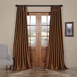 HPD HALF PRICE DRAPES Half Price Drapes PTCH-JTSP209-96 Faux Silk Taffeta Curtain, Copper Brown