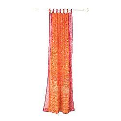 Orange Curtain, Rust orange and Pink Border, SARI Curtain, 84″Long panel, FREE GIFT Silk T ...