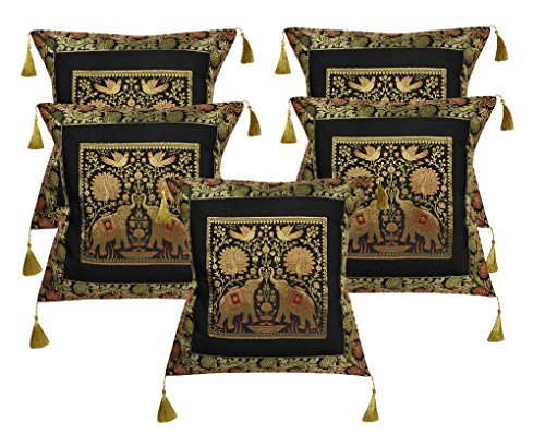 Lalhaveli Handmade Elephant Work Design Black Color Indian Silk Cushion Covers 18 x 18 Inch Set  ...