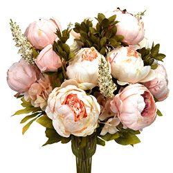 Hmxpls Vintage Artificial Peony Silk Flowers Bouquet, Craft Fake Flowers Floral Decor Glorious M ...