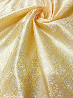 60″ W Thai Silk Damask Traditional Pattern Fabric BTY (Gold)