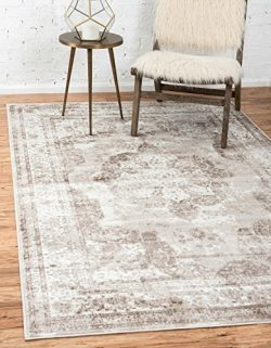 Unique Loom Sofia Collection Traditional Vintage Beige Home Décor Area Rug (4′ x 6′)