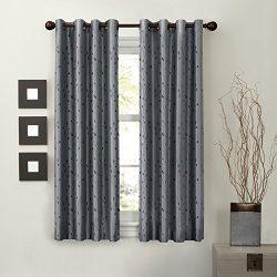 MAYTEX Jardin Thermal Blackout Room Darkening Faux Silk Embroidered Single Panel Grommet Window  ...