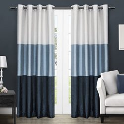 Exclusive Home Chateau Striped Faux Silk Window Curtain Panel Pair with Grommet Top 54×84 I ...