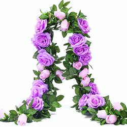 PARTY JOY 6.5Ft Artificial Rose Vine Silk Flower Garland Hanging Baskets Plants Home Outdoor Wed ...