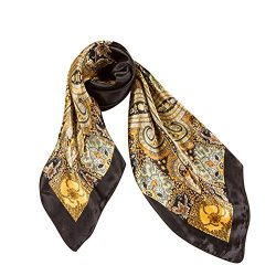 Vinmax Classical Pattern Large Square women girl Scarf Silk Scarves Elegant Scarves (Black)