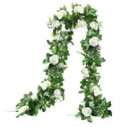 The Bloom Times Artificial Rose Vine Silk Flower Garland Hanging Baskets Plants Home Outdoor Wed ...