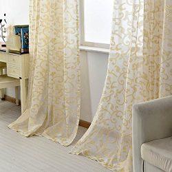 pureaqu Golden Silk Luxury Window Curtain for Living Room W100xH84 Rod Pocket Process Sheer Voil ...