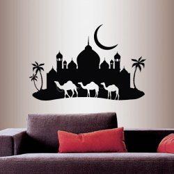 Wall Vinyl Decal Home Decor Art Sticker Arabian Night ?amel Caravan Mosque Palace Palm Trees Sky ...