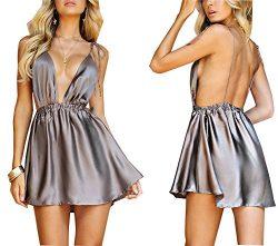 YT couple Women's Sexy Deep V-Neck Spaghetti Strap Sleeveless Backless High Waist Dress Lo ...
