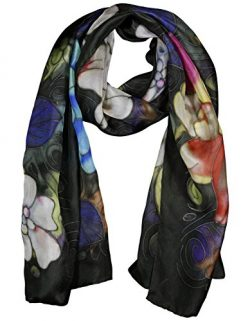 Invisible World Women's 100% Mulberry Silk Scarf Long Hand Painted Peonies Black